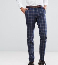 Синие клетчатые брюки узкого кроя Harry Brown TALL - Темно-синий