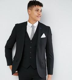 Однотонный эластичный пиджак узкого кроя Harry Brown TALL - Черный