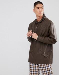 Коричневая короткая непромокаемая куртка Rains - Коричневый