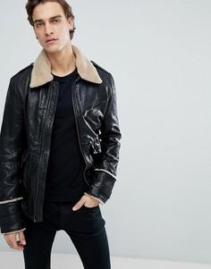 Состаренная кожаная куртка с отделкой из искусственного меха Black Dust Cuba - Черный