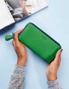 Кожаный кошелек на молнии Made - Зеленый