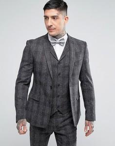 Приталенный пиджак в клетку и крапинку Rudie - Серый