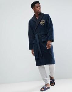Темно-синий махровый халат с логотипом-гербом Tommy Hilfiger - Темно-синий