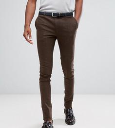 Супероблегающие строгие брюки из эластичного твида Heart & Dagger TALL - Коричневый
