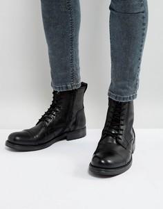 Кожаные ботинки на шнуровке Jack & Jones Russel - Черный