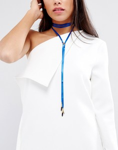 Атласное ожерелье-чокер Vanesse Mooney - Синий