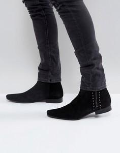 Черные замшевые ботинки челси с заклепками и молнией ASOS - Черный