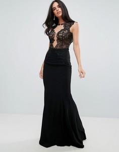 Платье макси с кружевным топом и глубоким вырезом Forever Unique - Черный