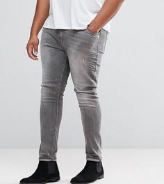 Серые джинсы скинни с рваной отделкой ASOS PLUS - Серый