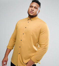 Горчичная эластичная рубашка узкого кроя из вискозы ASOS PLUS - Желтый