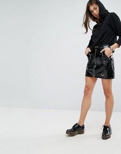 Блестящая мини-юбка из полиуретана Tripp NYC - Черный