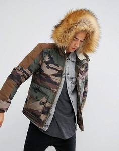 Дутая камуфляжная куртка с искусственным мехом на капюшоне Illegal Club - Зеленый