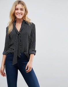 Блузка в горошек со съемной завязкой у ворота Goldie Wild World - Черный
