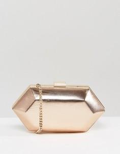 Структурированный клатч с камнями Miss KG - Золотой
