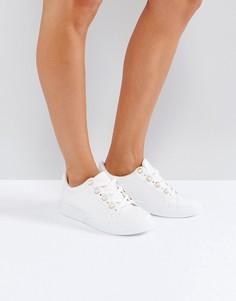 Кроссовки с отделкой искусственным жемчугом Park Lane - Белый