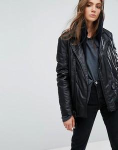 Длинная кожаная байкерская куртка Goosecraft - Черный