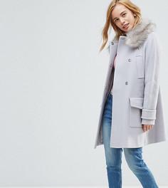 Приталенное пальто с искусственным мехом ASOS PETITE - Серый
