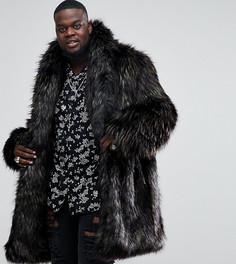 Коричневое пальто из искусственного меха ASOS PLUS - Коричневый