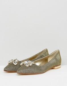 Замшевые туфли с камнями на плоской подошве Dune - Золотой