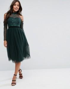 Платье для выпускного миди с ленточным поясом, кружевным топом и юбкой из тюля ASOS PREMIUM - Зеленый