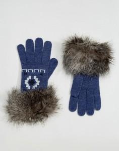 Перчатки с меховой отделкой Alice Hannah - Синий