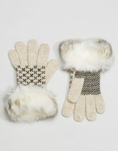Перчатки с меховой отделкой Alice Hannah - Кремовый