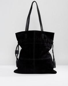 Замшевая сумка-шоппер со шнурком ASOS - Черный
