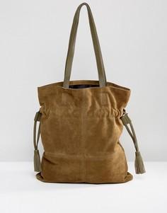Замшевая сумка-шоппер со шнурком ASOS - Зеленый