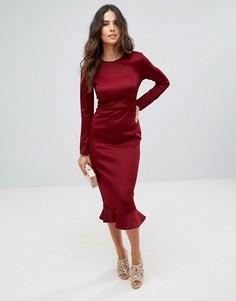 Облегающее платье миди с длинными рукавами и оборкой по нижнему краю Club L - Красный