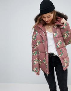 Дутая куртка с цветочным принтом ASOS - Синий