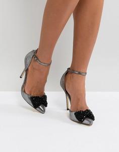 Туфли на высоком каблуке с заостренным носком и бантом London Rebel - Серый