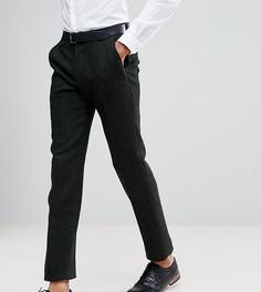 Зеленые брюки узкого кроя из 100% шерстяного харрис-твида с узором в елочку ASOS TALL - Зеленый