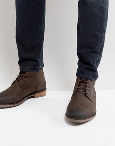 Коричневые кожаные ботинки со вставкой на носке Silver Street - Коричневый
