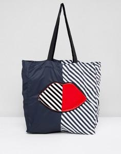 Складывающаяся сумка-шоппер в полоску Lulu Guinness - Мульти