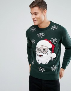 Рождественский джемпер Threadbare Singing Santa - Зеленый