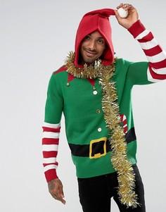 Джемпер с капюшоном в стиле костюма эльфа с колокольчиками Threadbare - Зеленый