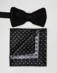 Комплект из галстука-бабочки и платка для нагрудного кармана Peter Werth - Черный