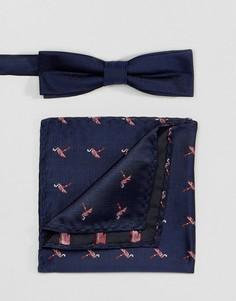 Комплект из галстука-бабочки и платка для нагрудного кармана Peter Werth - Синий