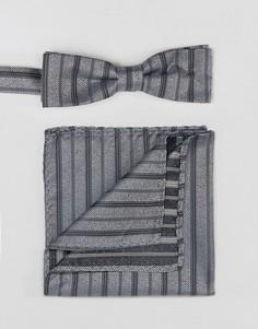 Комплект из галстука-бабочки и платка для нагрудного кармана Peter Werth - Серебряный