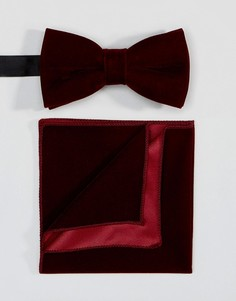 Комплект из галстука-бабочки и платка для нагрудного кармана Peter Werth - Красный