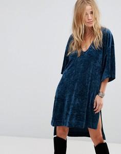 Велюровое платье-футболка Free People The Luxe - Синий