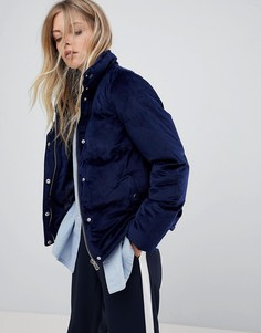 Бархатная дутая куртка QED London - Темно-синий