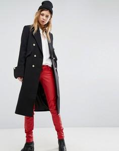 Приталенное пальто с золотистыми пуговицами ASOS - Черный