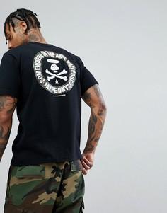 Черная футболка с камуфляжным принтом на спине AAPE By A Bathing Ape - Черный