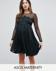 Короткое приталенное платье из кружева и сетки добби ASOS Maternity - Черный