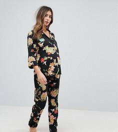 Пижамный комплект с цветочным принтом ASOS Maternity - Черный