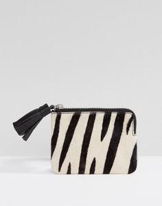 Кожаный кошелек для мелочи с принтом зебра ASOS - Мульти