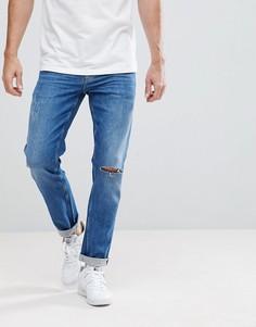 Выбеленные узкие джинсы с рваной отделкой ASOS - Синий
