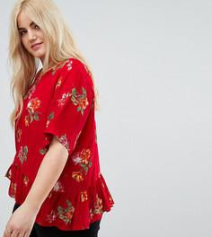Красная футболка с цветочным принтом и оборкой ASOS CURVE - Мульти
