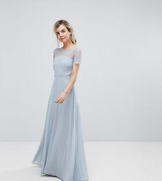 Платье макси с кружевной отделкой ASOS PETITE - Серебряный